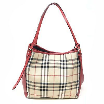 d8a3c02df6 Burberry 39398981 Red Leather Small Canter Horseferry Check Ladies Tote Bag