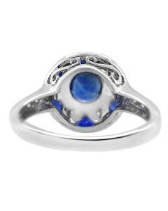 18k White Gold 1.06 CT Sapphire 0.20 CT Diamond Ring