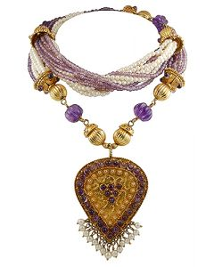 14K GOLD, AMETHYST AND PEARL LONG NECKLACE