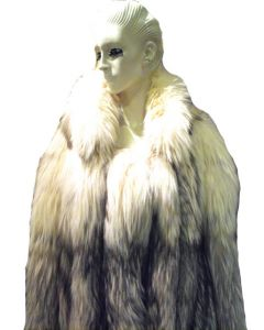 Stunning Womens Blue Fox Fur Coat Size Large-rare
