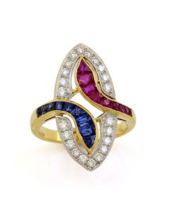 18K Yellow Gold Diamond, Ruby and Sapphire Vintage Ring