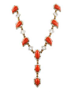 18K CORAL AND WHITE ENAMEL NECKLACE