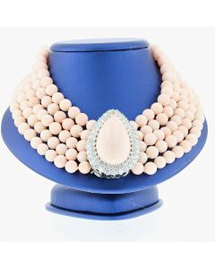 CORAL WITH DIAMOND NECKLACE AND EARRING (SET), 18K