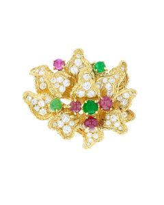 18K YG MULTI COLOR BROOCH (EST)