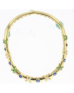 YG DIAMOND BLUE STONE GREEN STONE NECKLACE, 18K