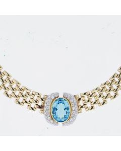 YG/ WG DIAMOND PAVE BLUE STONE NECKLACE, 14K