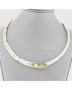 WOMEN'S YG DIAMOND GREEN STONE NECKLACE, 18K