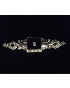 WG PIN WITH DIAMOND AND BLACK STONE, 14K