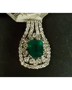 WG DIAMOND WITH EMERALD STONE PENDANT
