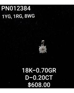 18K PENDANT IN WG-YG-WG WITH DIAMONDS