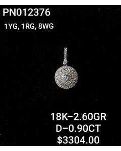 18K PENDANT IN WG-YG-RG WITH DIAMONDS