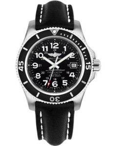 Breitling Superocean II 42mm - Leather Strap - Tang Men's Watches - A17365C9/BD67-leather-black-tang