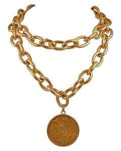 22K AND 18K GOLD COIN PENDANT WITH NECKLACE