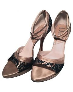 Christian Dior Blush Satin and Black Lace High Heel Ankle Strap Shoes Size 7