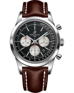 Breitling Transocean Chronograph Stainless Steel - Leather Strap - Deployant Men's Watches - AB015212/BF26-leather-brown-deployant