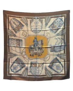 Hermes Vintage Les Muserolles Silk Scarf, circa 1986