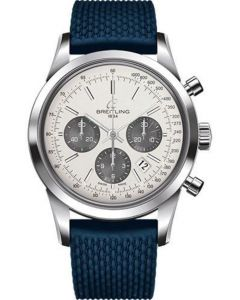 Breitling Transocean Chronograph Stainless Steel - Aero Classic Strap - Tang Men's Watches - AB015212/G724-rubber-aero-classic-blue-tang