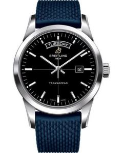 Breitling Transocean Day and Date Stainless Steel on Rubber Aero Classic Deployant Men's Watches - A4531012/BB69-rubber-aero-classic-blue-deployant