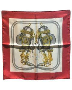 Hermes Vintage Red Brides de Gala Silk Pocket Square Handkerchief
