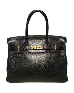 Hermes Black Clemence Leather Gold GHW 30cm Birkin Bag