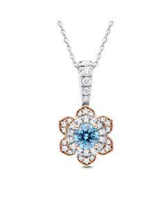 Made For Us Lab Grown 0.90 Carat Diamond Blue Flower Pendant