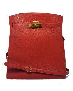 RARE HERMES Vintage Rouge Clemence Leather Kelly Sport Shoulder Bag