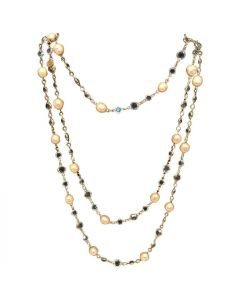 Chanel Vintage Pearl and Clear Crystal Chicklet Long Necklace