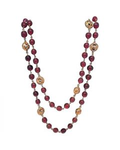 Chanel Dark Red and Gold CC Beaded Long Necklace