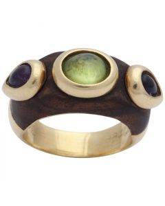 1980s Wood Amethyst with Cabochon Peridot Gold Cocktail Band Style Ring