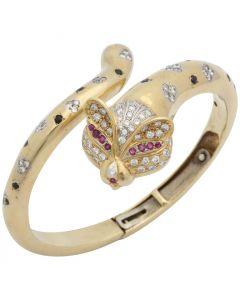 1980s Figural Animal Fox Design Sapphire, Ruby with Diamonds Bangle Bracelet