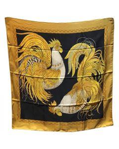 Salvatore Ferragamo Vintage Black and Gold Rooster Chicken Print Silk Scarf
