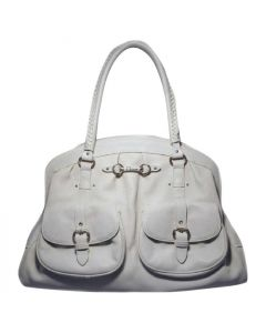 Christian Dior White Leather Shoulder Shopper Bag