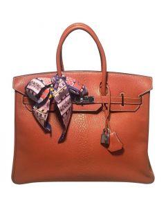 Hermes Tan 35cm Chevre Coromandel Leather Silver PDH Birkin Bag