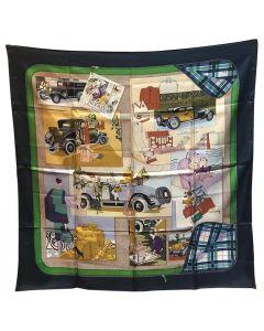 Hermes Vintage Confort en Automobile Silk Scarf in Navy