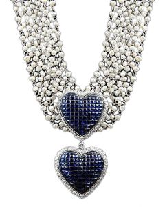 18kt. White Gold Pearl & Invisible set Sapphire Necklace