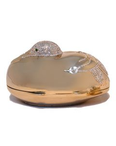 Judith Leiber Gold Swarovski Crystal Sitting Duck Minaudiere