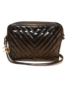 Chanel Vintage Black Patent Leather Chevron Quilted Shoulder Bag
