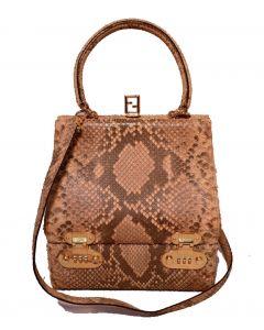 RARE Fendi Natural Python Snakeskin Two-Way Kelly Bolide Handbag