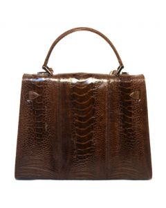 Lorenzi Brown Ostrich Kelly Bag