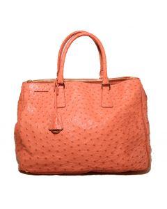 Prada Peach Coral Ostrich Leather Tote Bag