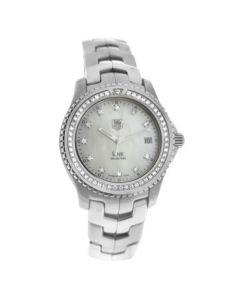 Mens Tag Heuer Link WJ111B Steel MOP Diamond Bezel Dial Date Quartz 40MM Watch