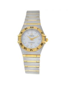 Lady Omega Constellation 795.1203 Full Bar Gold MOP Diamond 22MM Quartz Watch