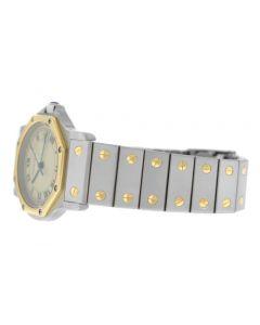 Ladies Cartier Santos Octagon 187902 Steel 18K Yellow Gold 30MM Quartz Watch