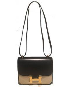 NEW Hermes 18cm Mini Black Box Calf Constance Shoulder Bag