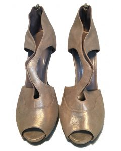 Hermes Shimmery Golden Leather Strappy High Heels size 38
