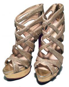Christian Louboutin Nude Glitter Peek-a-boo Stilettos Size 38.5