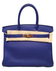 Hermes Royal Blue Clemence Leather 30cm GHW Birkin Bag