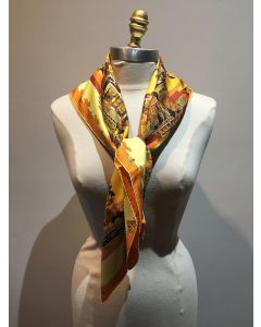 Hermes Vintage Astres et Soleils Silk Scarf in Yellow