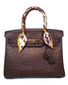 STUNNING Hermes Brown Ostrich 30cm Birkin Bag