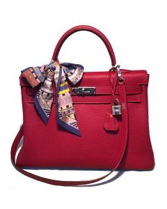 Hermes Red Rouge Chèvre Leather 35cm Kelly Bag with Strap